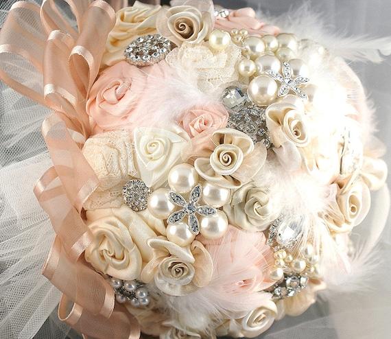 Брошь Букет Vintage-Style Jeweled Букет в Blush Pink, Cream и Кот-романтика