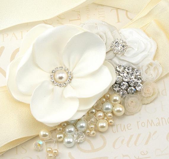 Ivory Sash, Cream, White, Bridal, Elegant Wedding, Vintage Style, Gatsby, Maid of Honor, Satin, Floral, Brooch, Pearls, Crystals