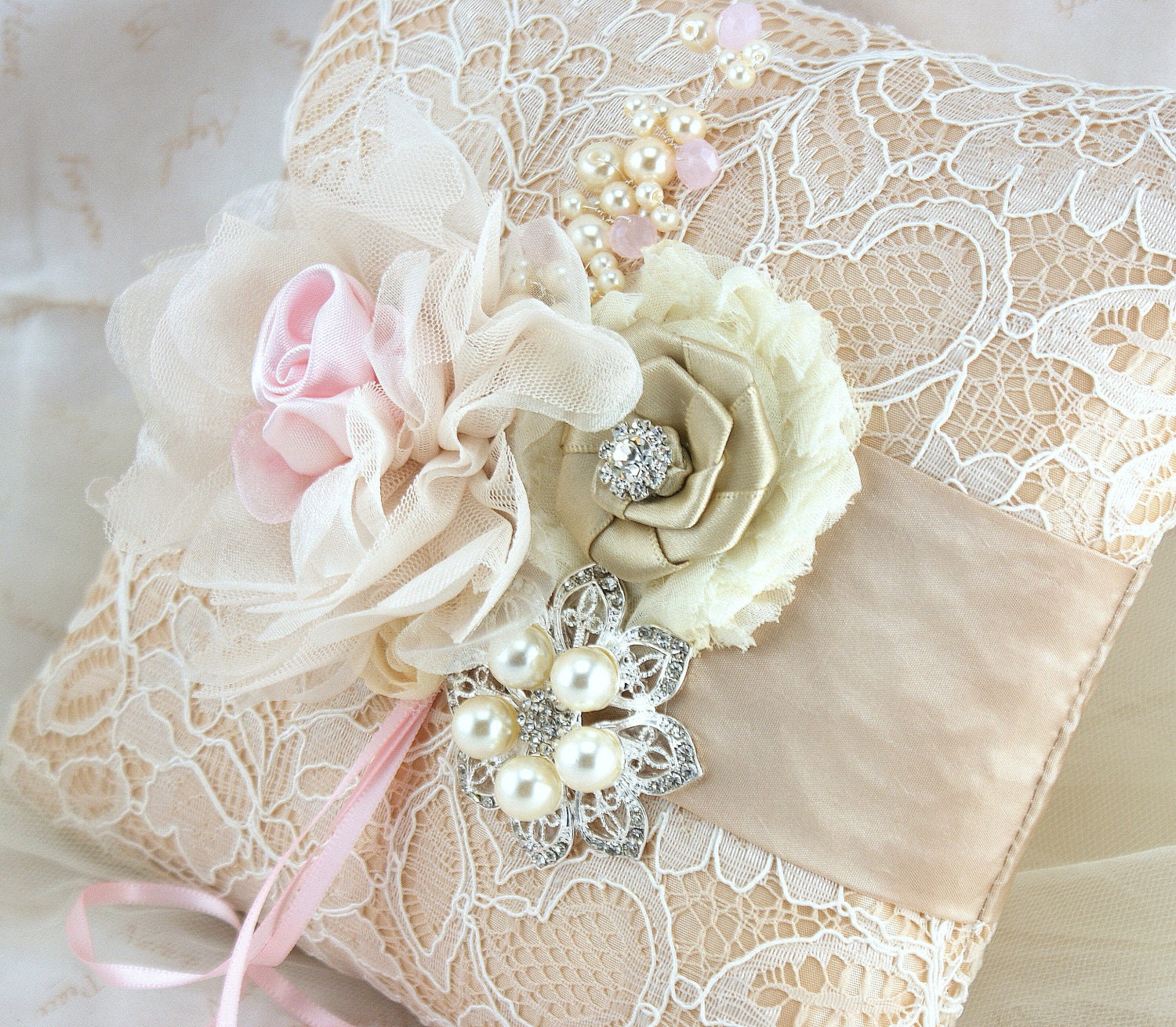 Ring Bearer Pillow Champagne Tan Beige Pink Ivory