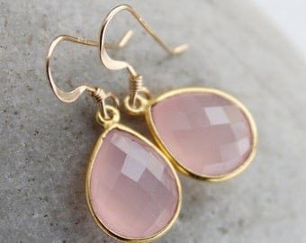 Simple Pink Chalcedony Teardrop Earrings - Gemstone Earrings - Bridesmaids, Winter Weddings