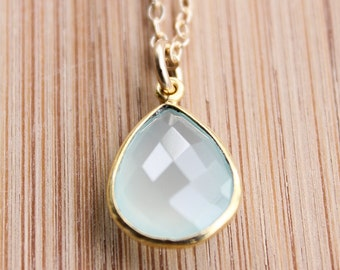 Gold Aqua Chalcedony Necklace - Teardrop Necklace - 14KT Gold Fill