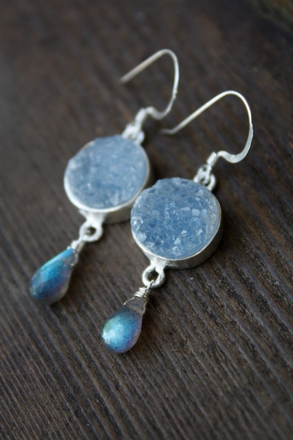 Silver Druzy and Blue Labradorite Earrings - Agate Geode Slice - AAA Quality