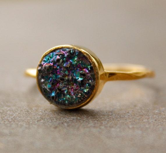 Titanium Blue Agate Geode Druzy Ring - Titanium Druzy - Stacking Ring, Vermeil Gold