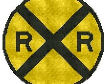 Rail Road Crossing Cross Stitch Printed Pattern