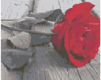 Faded Rose Cross Stitch Printed Pattern
