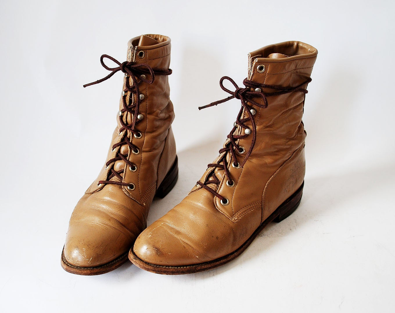 Vintage Justin Lace Up Riding Boots Beige Leather Size 9