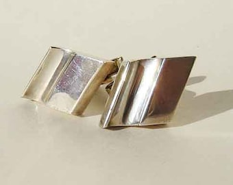 Vintage Taxco Cuff Links Sterling Silver Modernist Style Mens Cufflinks