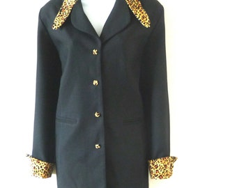 Long Jacket - Black - Leopard Collar Cuffs - Retro 40s Style -  Glamrock - Rockabilly - Rock Star - 80s - Size Medium - UNIQUE - Performer