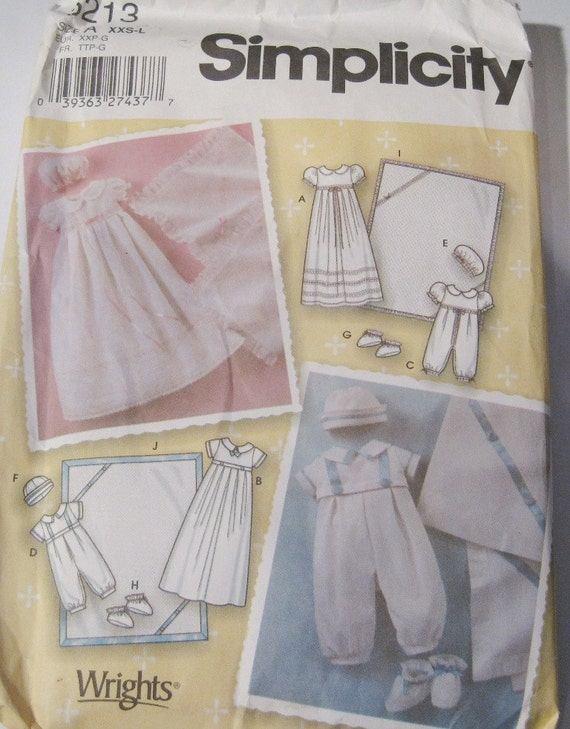 UNCUT Simplicity Sewing Pattern 5213 Babies' Christening Gown, Romper, Booties, Hats and Blanket