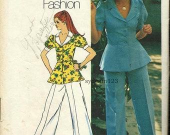 Vintage 1973 Pantsuit...Peplum Jacket and Wide Legged Cuffed Pants...Simplicity 5630 Bust 36