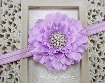 Lavender Flower Headband, Velvety Flower w/ Pearl & Crystal Flower Center Headband or Hair Clip, The Eva, Baby Toddler Child Girls Headband