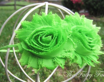 Lime Green Flower Headband, Lime Green Chiffon Rosettes Duo Stretchy Lime Green Headband, Shabby Chic, Baby Toddler Child Girls Headband