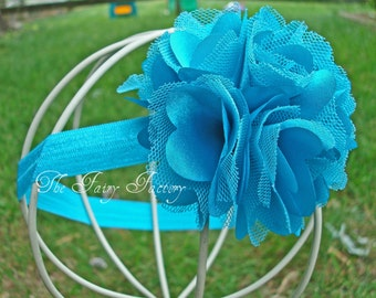 Turquoise Flower Headband, Turquoise Satin and Tulle Flower Puff Headband or Hair Clip, Newborn Baby Infant Toddler Child Girls Headband