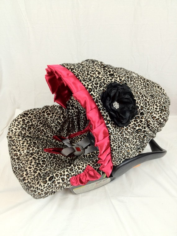 Leopard Red Infant Car Seat Cover Baby Car Seat Cover With