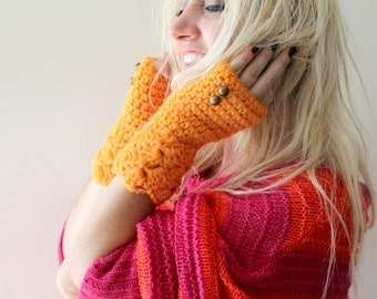 womens fingerless gloves / neon orange fingerless gloves / crochet fingerless gloves, fingerless gloves for women, womens gift, gift for her