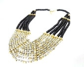 Statement Necklace Bib in Black, Gold and Silver, Maasai Tribal Inspired, Handmade Necklace