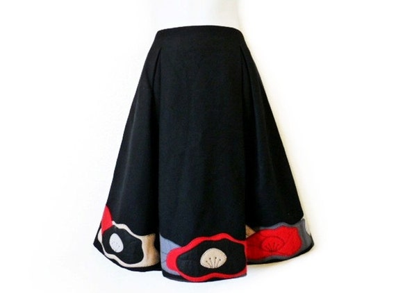 SALE Vintage 80s Skirt EMPORIO ARMANI  Black Floral Applique Red Grey Wool Knee Skirt Made in Italy