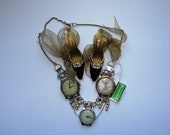 Steampunk Industrial Chic Reclaimed Recycled Vintage Watches & Vintage Pearls Necklace Handmade By Recycloanalyst