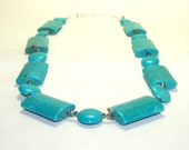 Turquoise  Necklace. Blue Beaded Round Square Necklace. Inventory Clearance Sale.