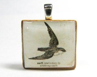 Swift drawing - vintage dictionary Scrabble tile pendant