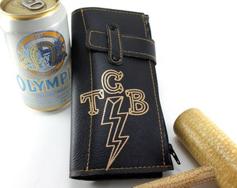 TCB Biker Wallet - Takin Care of Business SON - Black vinyl with Gold print