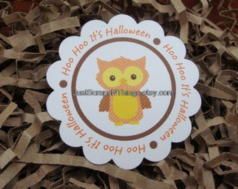 Halloween tags - Owl - scalloped circle tags by Just Scraps N Things