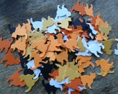 Halloween cat cut outs, orange confetti, cat punches, cat embellishments (100)