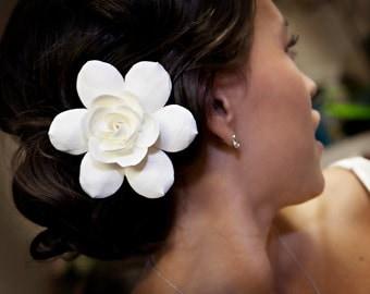 Ivory Gardenia hair pin 3.7-4 inches