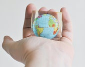 Vintage World Globe Paperweight Encased in Lucite
