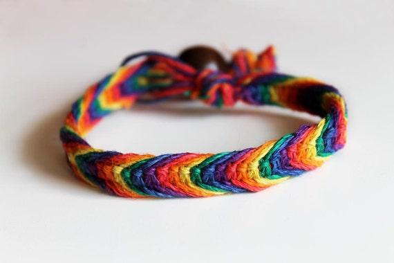 Rainbow Hemp Bracelet Unisex Fishbone Braid