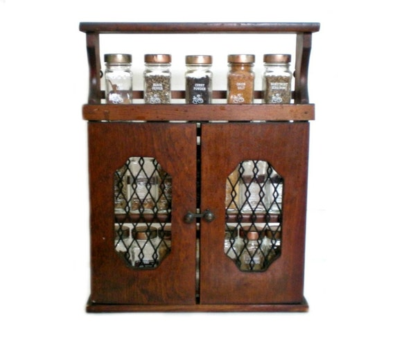 Vintage Spice Rack, Spice Cupboard, Shadow Box, Rustic Kitchen, Cottage Chic