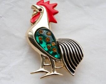 1 Vintage 1960s Brooch // 50s 60s Kitsch Rhinestone Rooster Brooch // Jelly Belly Brooch // NOS