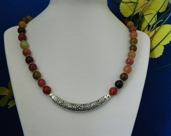 Multi-Colored Agate And Silver Tube Bead Necklace