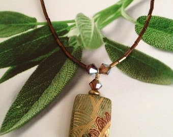 Ceramic Pendant Necklace and Matching Earrings - ON SALE