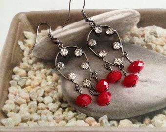Red Chandelier Crystal Earrings - ON SALE