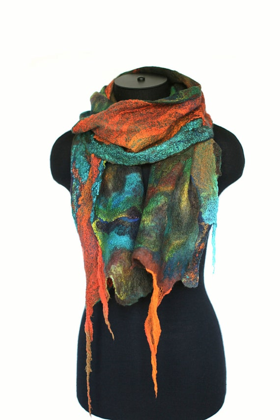 Felted Scarf Nuno Felted Scarf Long Textured Wool Silk Hand Dyed Multicolor Gift For Her Scarves OOAK