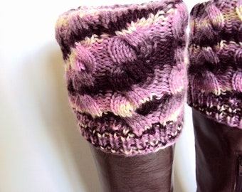 Boot Cuff / Boot Sock / Leg Warmer - Knitted in Purple Wool Yarn
