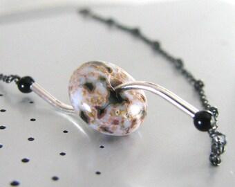 Jasper Necklace, Modern Jasper Necklace Sterling Silver, Black, Natural Stone Jasper, Asymmetrical - Full Tilt