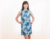 1960s Blue Mini Dress - Vintage 60s Floral Cotton Dress - S