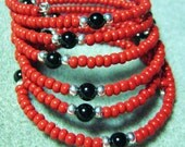 Handmade Beaded Bracelet Rich Red, Black Onyx, Sterling Silver, Memory Wire One Size Fits Most Artisan Unisex