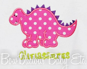 Girls Dinosaur Shirt, Personalized Dinosaur Appliqued Shirt, Girls Dinosaur Birthday Shirt, Personalized Dinosaur Shirt, Custom Colors