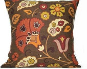 Autumn Floral Pillow Covers Brown Red Pumpkin Chartreuse Green Purple Decorative Repurposed Pair 18x18