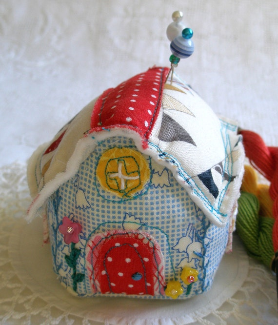 Little Blue Pincushion House. with emery and hand embroidery