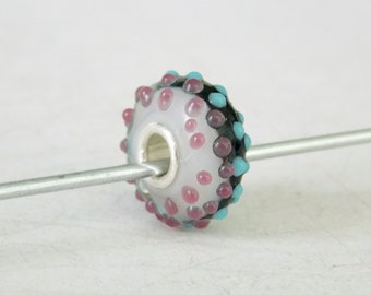 Murano Venetian Glass Charm Bead with Sterling Silver Core