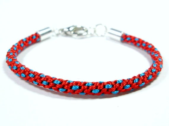 Red and Bright Blue Kumihimo Friendship Bracelet