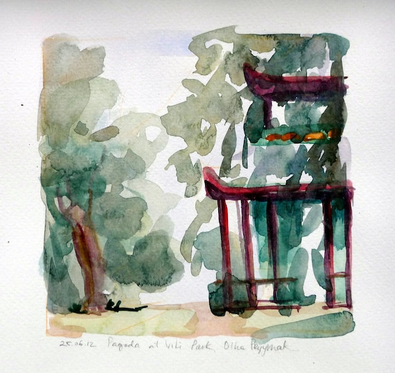Pavillion at Victoria Park, 25-06-2012, 17x17 cm, original watercolour painting