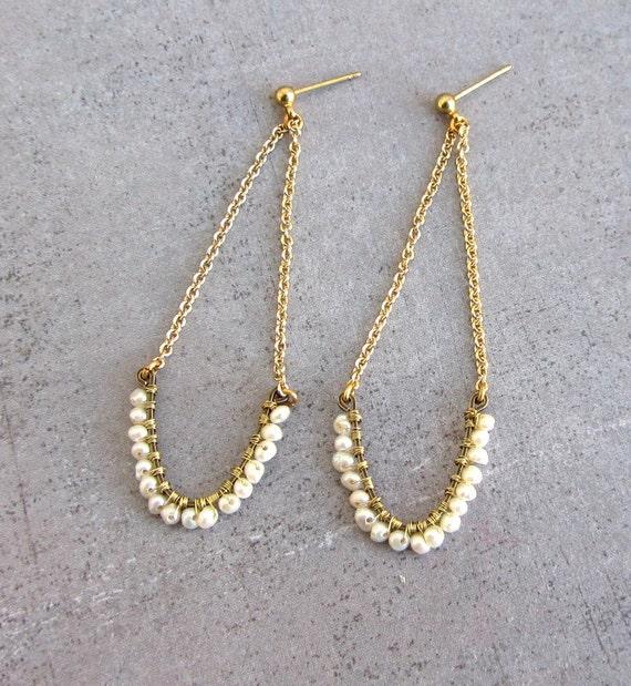 Pearl long gold chandelier earrings, dangle wire wrapped earrings, june birthstone