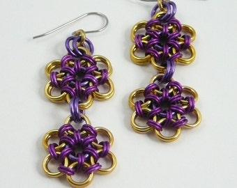 Chainmaille earrings--violet, purple, and gold Japanese flower anodized aluminum