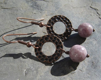 Lepidolite & Antiqued Copper Earrings ~ Metaphysical jewelry