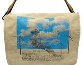 Eco Friendly cowboy -- Canvas messenger bag -- large field bag -- adjustable strap